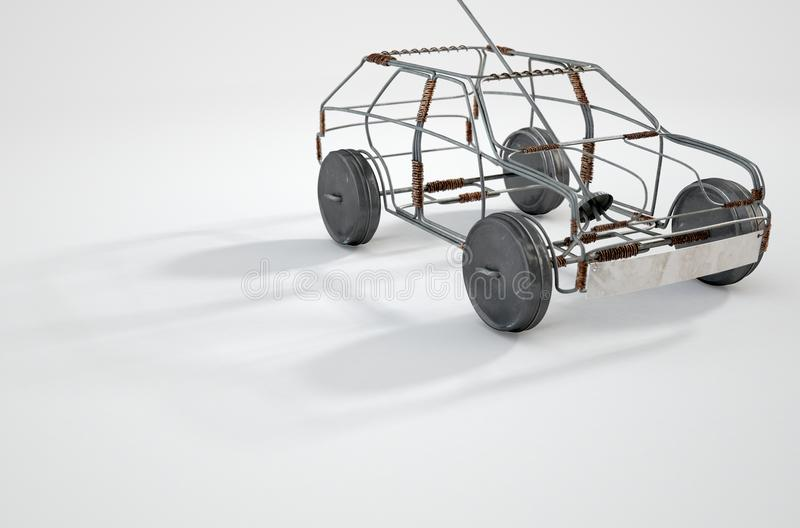 Wire Car. A traditional south african handmade wire toy car made out of metal and copper wire with tin cans as wheels on an background - 3D render vector illustration