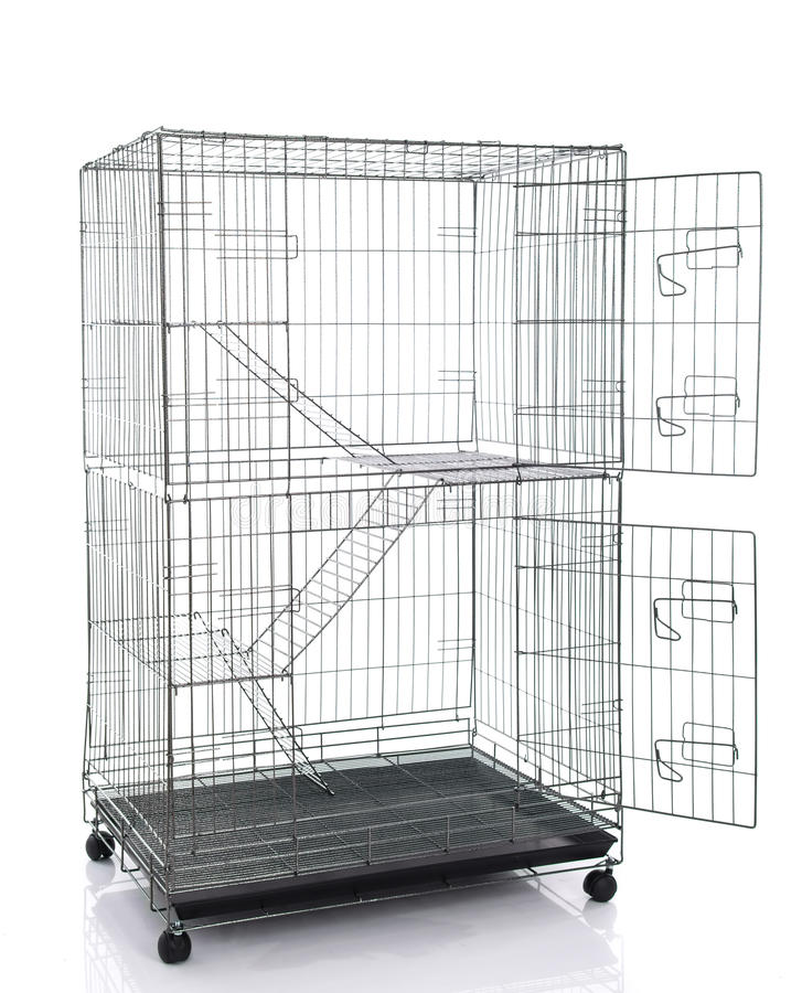 Wire cat crate or animal cage royalty free stock photos