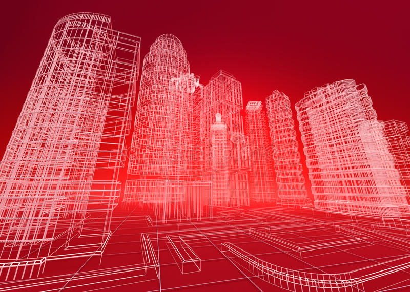 Wire city abstract background royalty free illustration