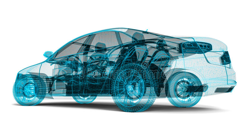 Wire frame car. 3D render image representing an wire frame car vector illustration