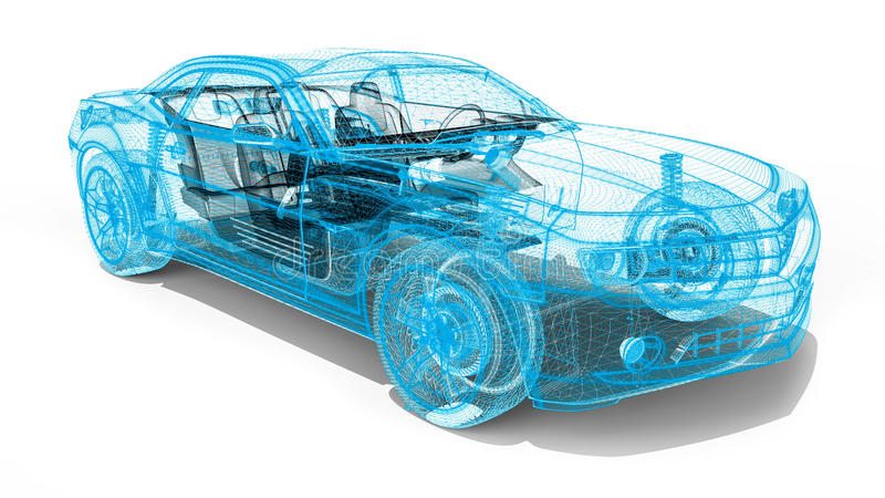 Wire Frame car. 3D render image representing an luxury car in wire frame vector illustration