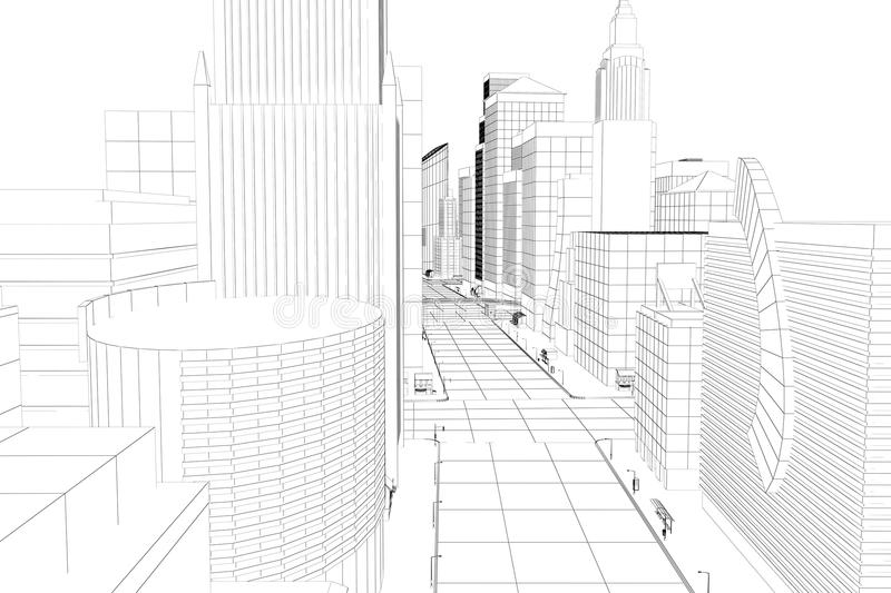 Wire Frame City vector illustration
