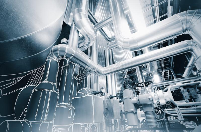 wire-frame computer cad design of pipelines modern industrial stock photography