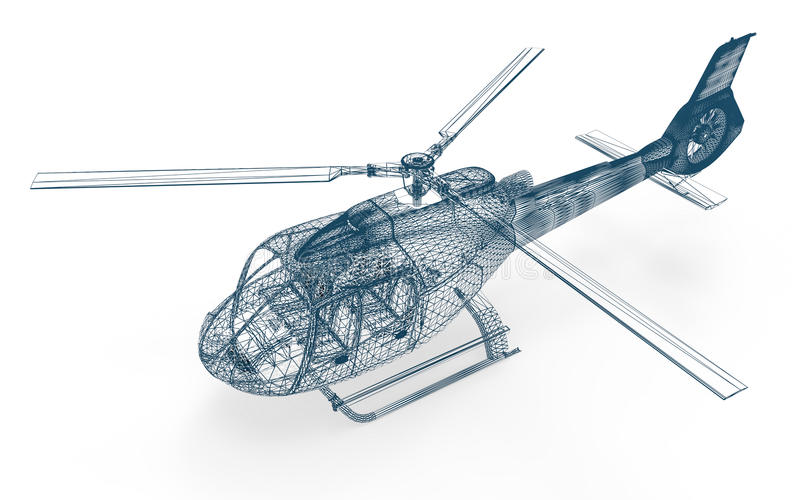 Wire frame Helicopter. 3D render image representing an Helicopter in wireframe stock illustration