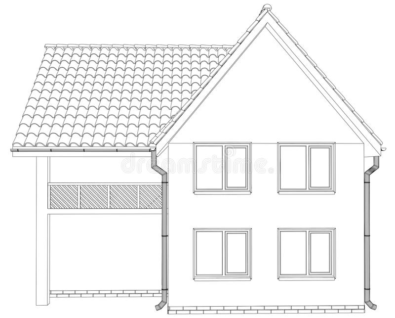Wire-frame house on the white background. EPS 10 stock illustration