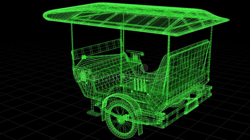 Wire-frame view of Tuk Tuk In Asia fully 3D rendered. royalty free illustration