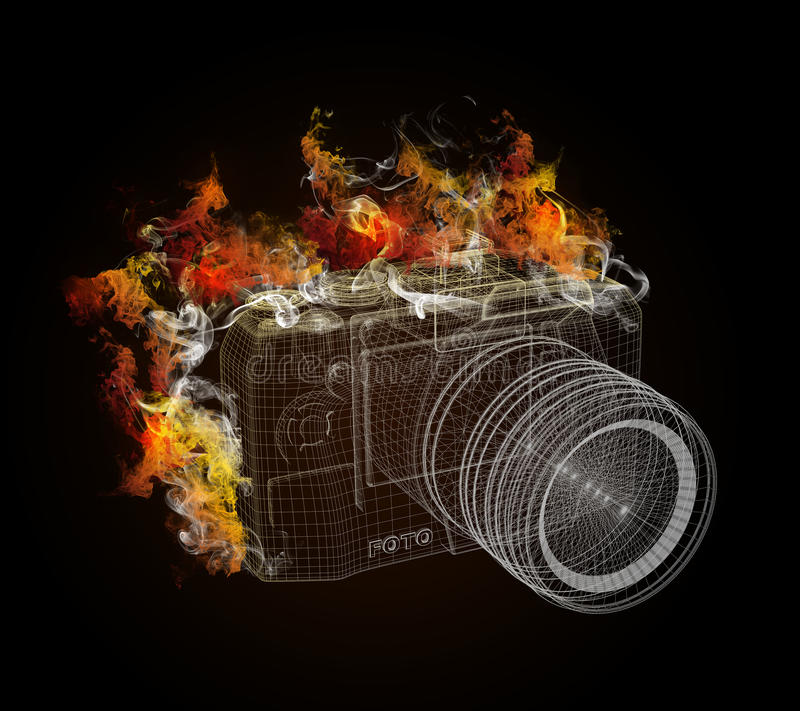 Wire frame SLR camera in the colored smoke royalty free illustration