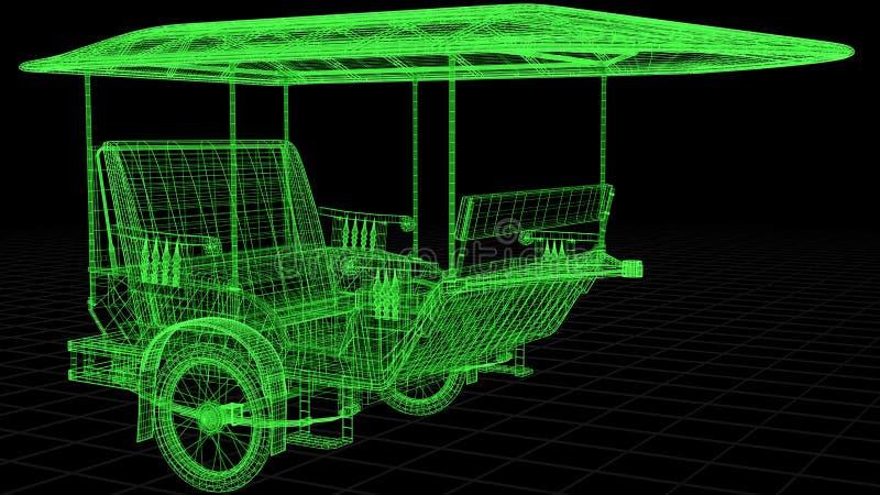 Wire-frame of Tuk Tuk In Asia fully 3D rendered. stock illustration