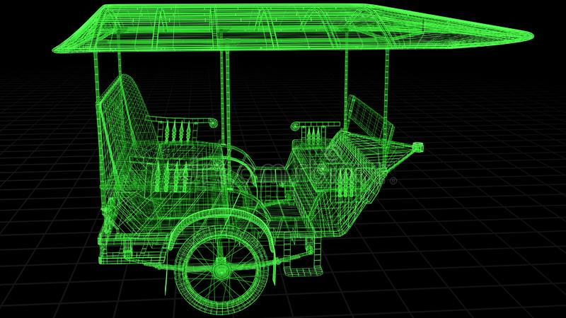 Wire-frame view of Tuk Tuk In Asia fully 3D rendered. vector illustration