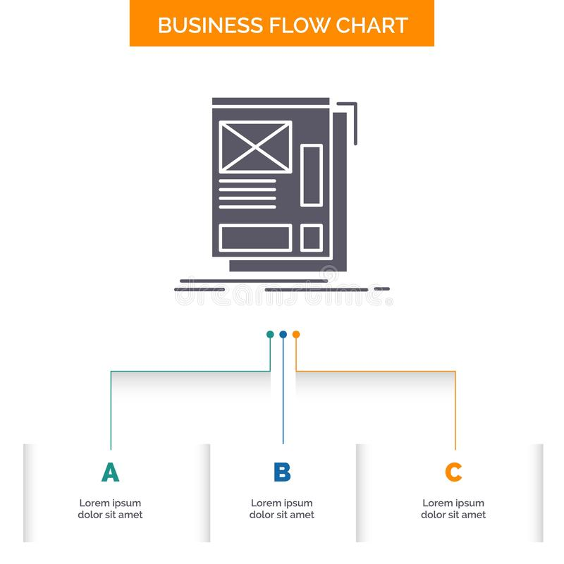 wire, framing, Web, Layout, Development Business Flow Chart Design with 3 Steps. Glyph Icon For Presentation Background Template stock illustration