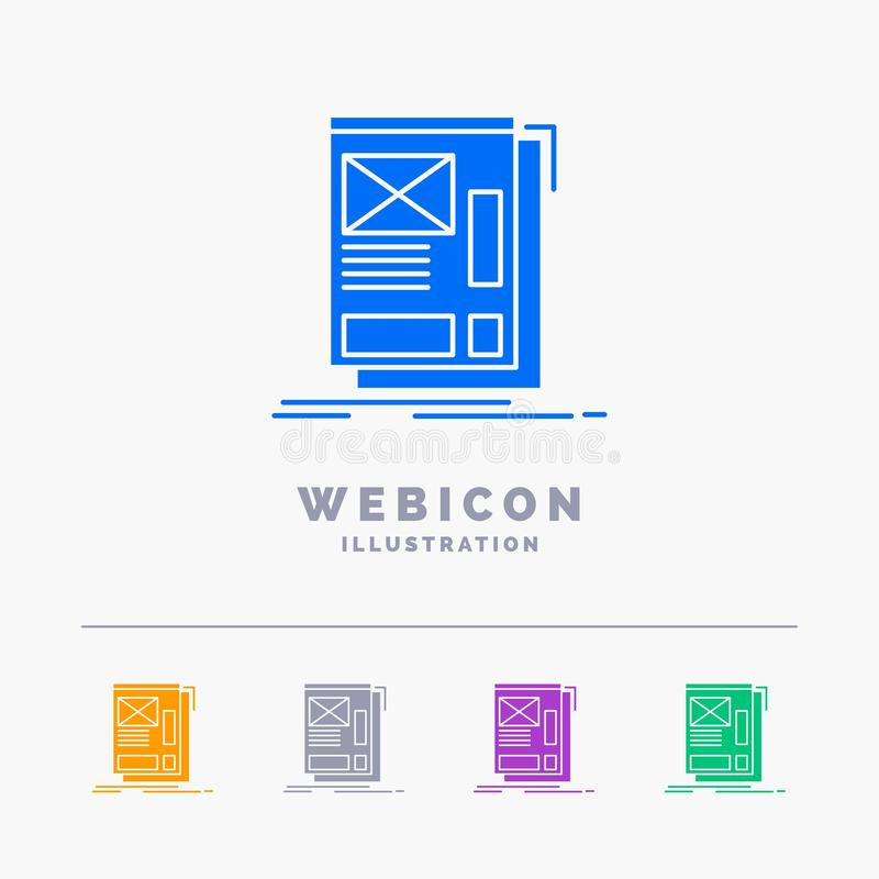 wire, framing, Web, Layout, Development 5 Color Glyph Web Icon Template isolated on white. Vector illustration royalty free illustration