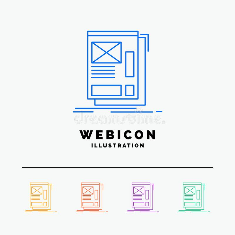 wire, framing, Web, Layout, Development 5 Color Line Web Icon Template isolated on white. Vector illustration stock illustration