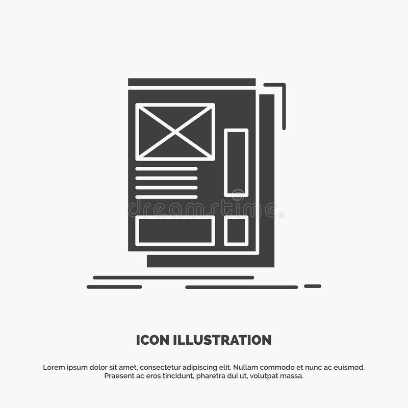 wire, framing, Web, Layout, Development Icon. glyph vector gray symbol for UI and UX, website or mobile application stock illustration