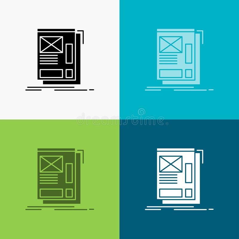 wire, framing, Web, Layout, Development Icon Over Various Background. glyph style design, designed for web and app. Eps 10 vector vector illustration