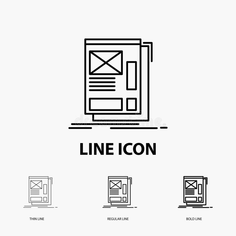 wire, framing, Web, Layout, Development Icon in Thin, Regular and Bold Line Style. Vector illustration vector illustration