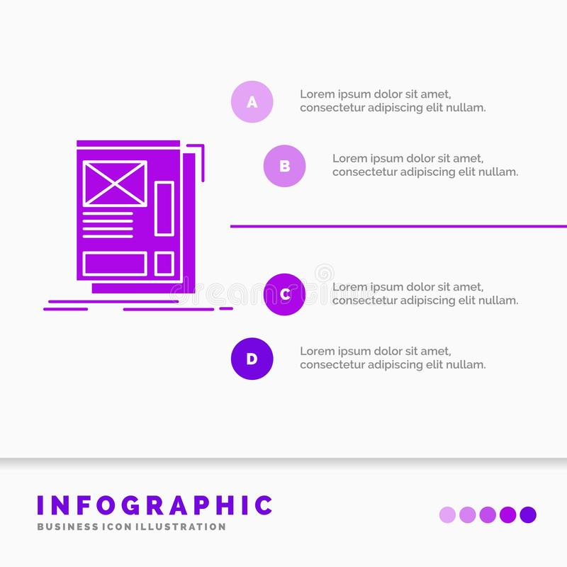 wire, framing, Web, Layout, Development Infographics Template for Website and Presentation. GLyph Purple icon infographic style royalty free illustration