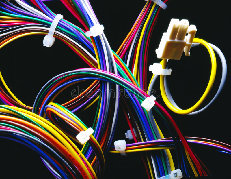 Wire harness. Colorful wire harness on a black background royalty free stock photography