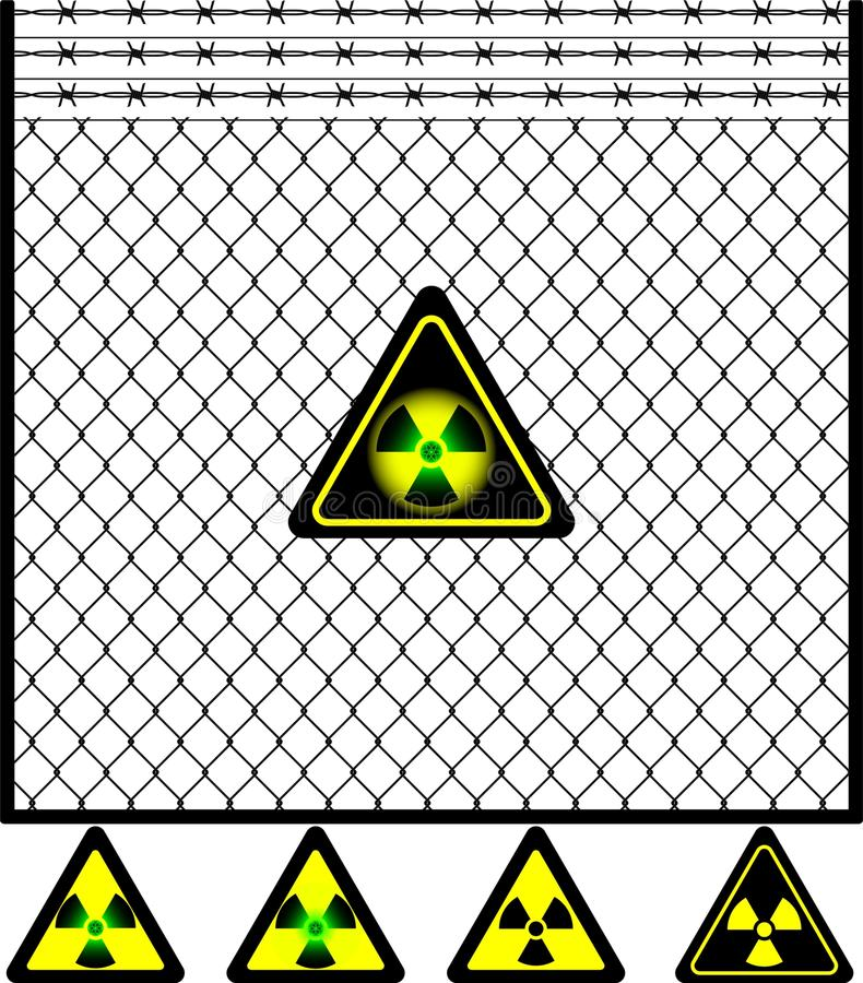 Wire mesh fence and radiation sign stock illustration