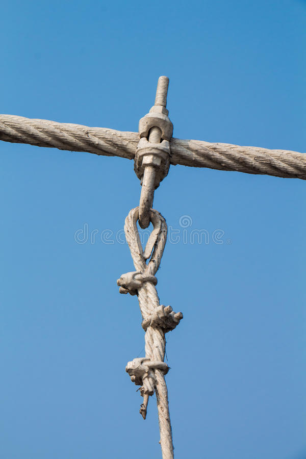 The wire metal rope bridge royalty free stock images