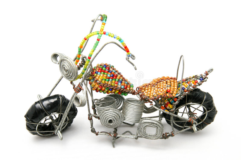 Wire model motor bike. A very nice African craft work of a wire motor bike stock photography