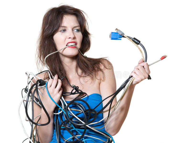 Wire panic. Beautiful expressive woman on isolated white background in wire panic stock images