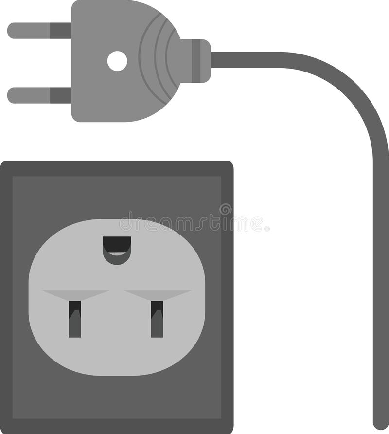 Wire and Plug. Plug, wire, electric icon vector image.Can also be used for tools. Suitable for mobile apps, web apps and print media royalty free illustration