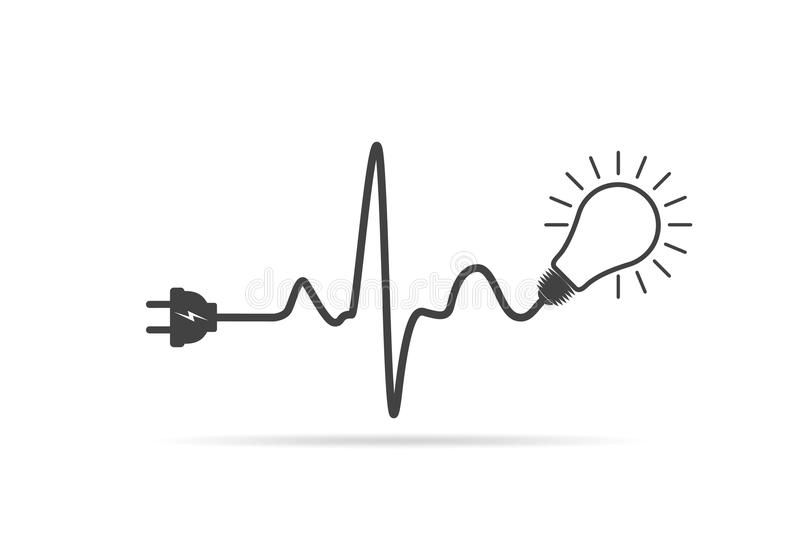 wire plug and light bulb flat icon  vector illustration
