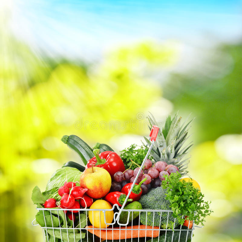 Wire shopping basket with groceries.  stock photography