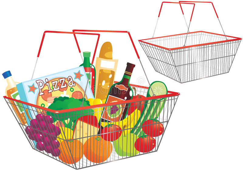 Wire shopping baskets royalty free illustration