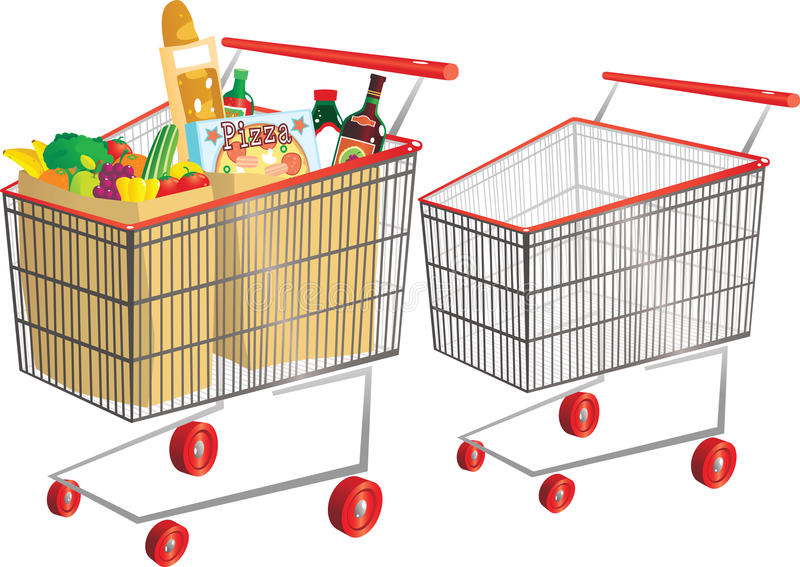 Wire shopping carts stock illustration