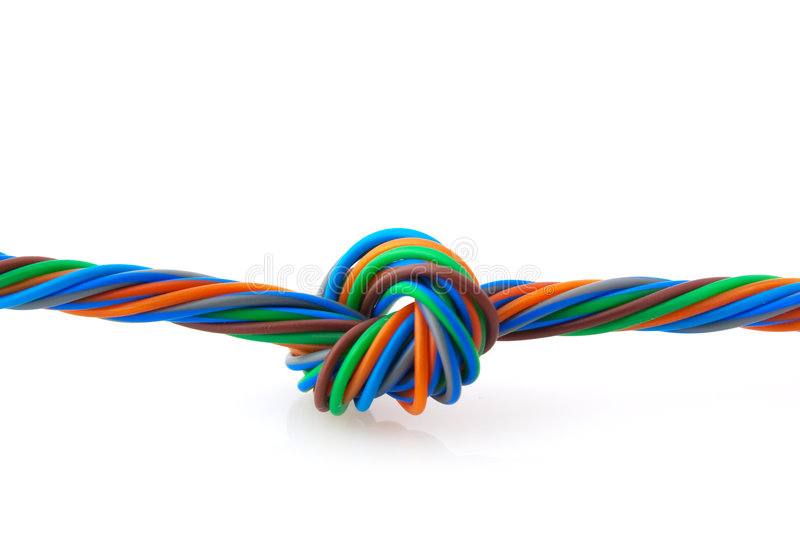 Wire spiral. Wire knot isolated on white background stock image