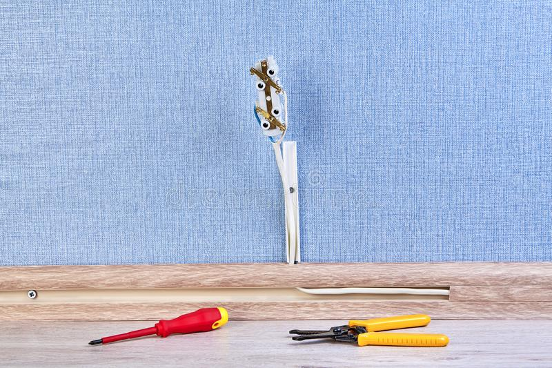 Wire stripper tool and screwdriver royalty free stock images