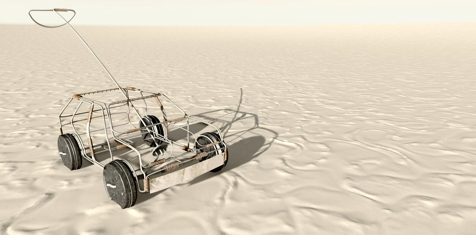 Wire Toy Car In The Desert Top vector illustration