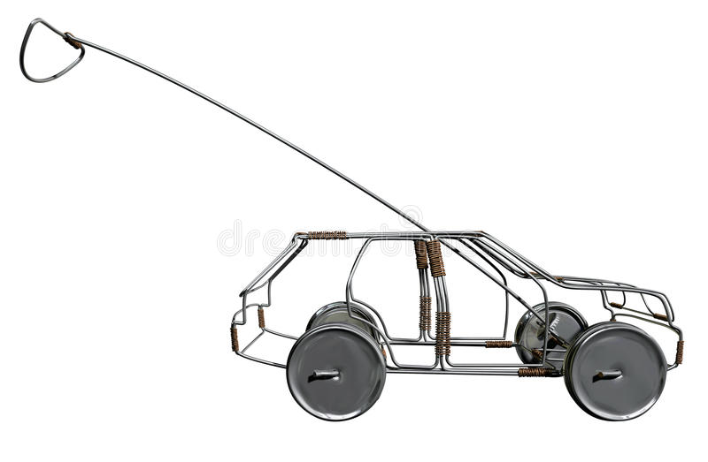 Wire Toy Car Side. A traditional south african handmade wire toy car made out of metal and copper wire with tin cans as wheels on an isolated background vector illustration