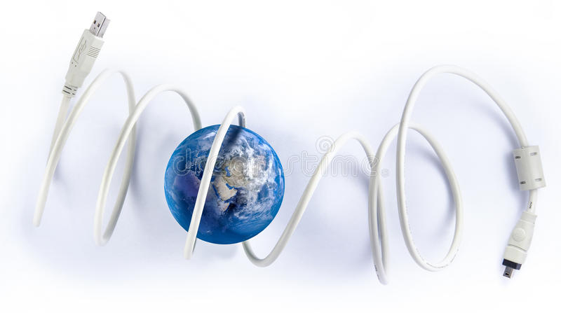 Wire world. Ball with the colors of planet earth and a usb cable stock illustration