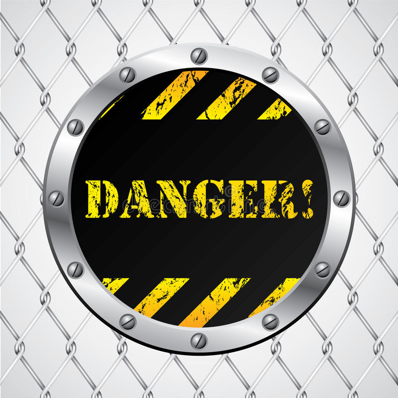 Free Wired Fence With Danger Sign Stock Photography - 18380952