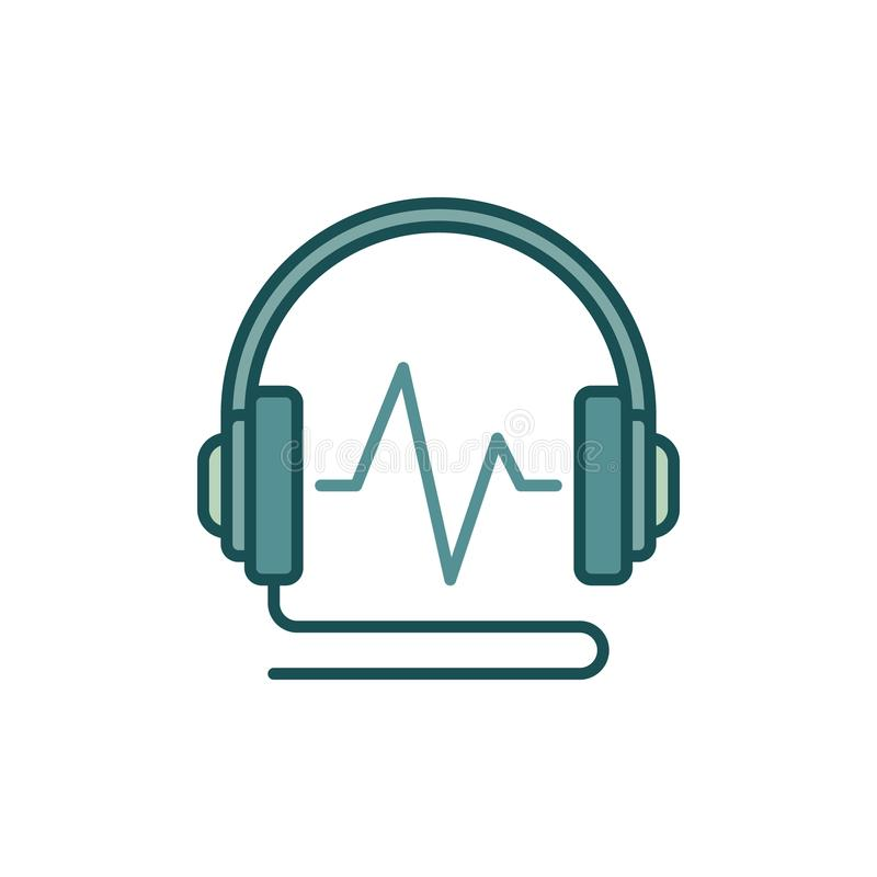 Wired Headphone With Sound Wave Colored Vector Icon Or Logo Stock ...