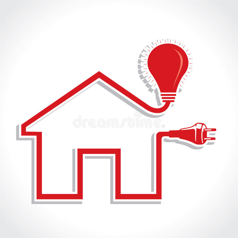 Wired Home Icon with Bulb and Plug stock illustration