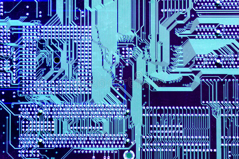 Wired Mother board. Computer parts with wired connections royalty free stock image