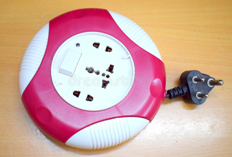 Wired Plug Point Round Extension Cord with LED Indicator. Multi Plug Point Round Extension Cord with LED Indicator royalty free stock images
