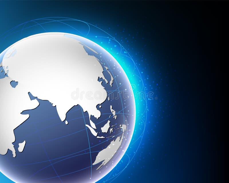 Wireframe世界全球性互联网连接大数据信息 向量例证