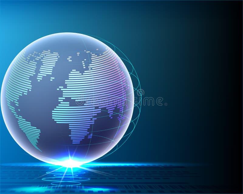 Wireframe全球性世界bigdata信息线网络质量 向量例证