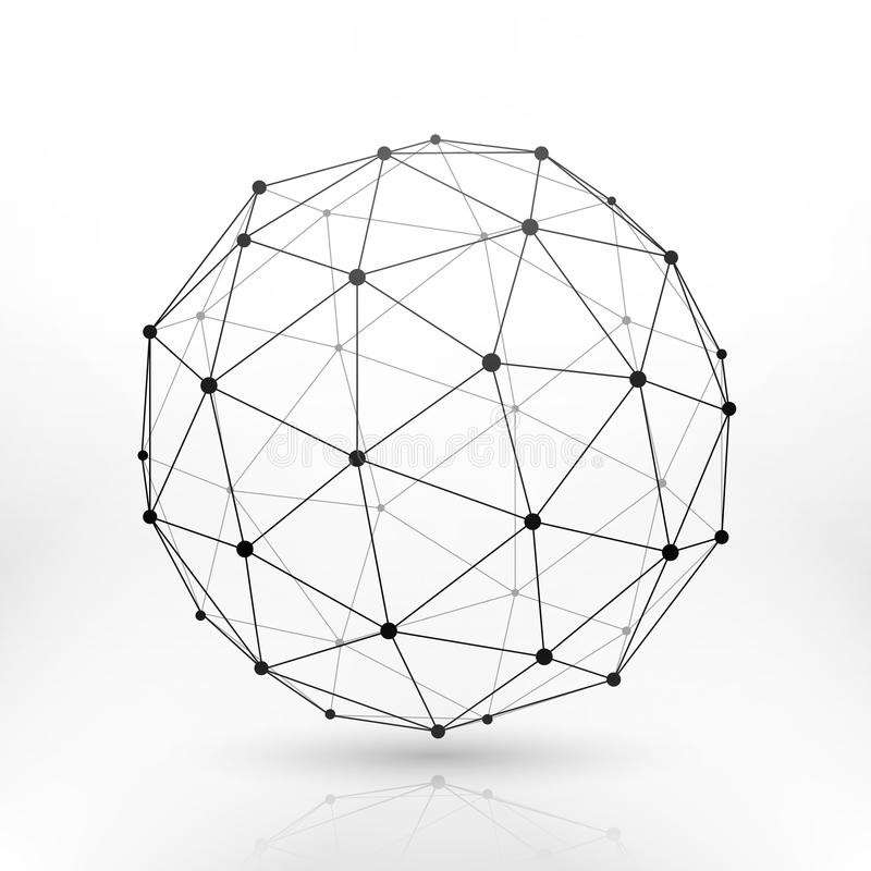 Wireframe地球球形,连通性,网络技术连接传染媒介概念 库存例证