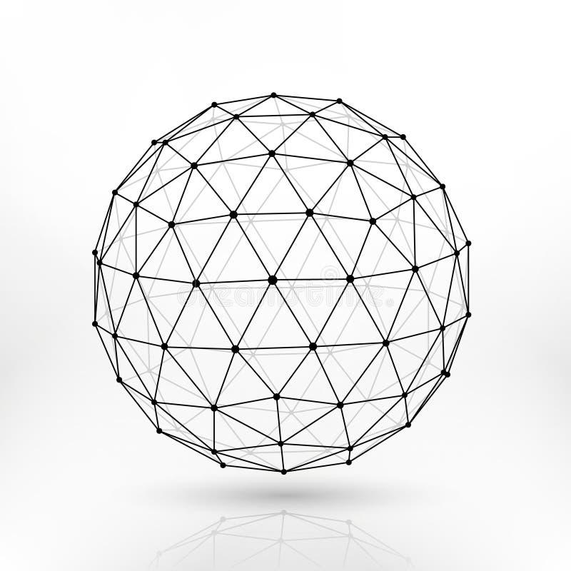 Wireframe多角形传染媒介球形,网络线抽象分数维设计 向量例证