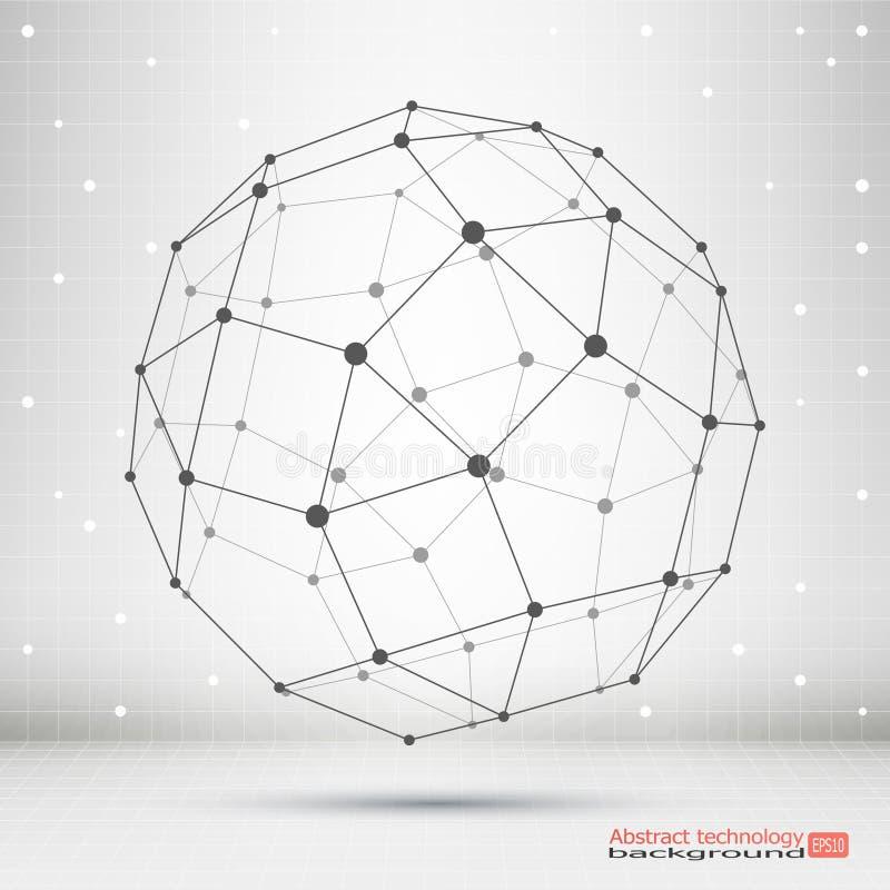Wireframe滤网多角形元素 与被连接的线和小点的球形 概念查出的技术白色 复杂几何形状 库存例证
