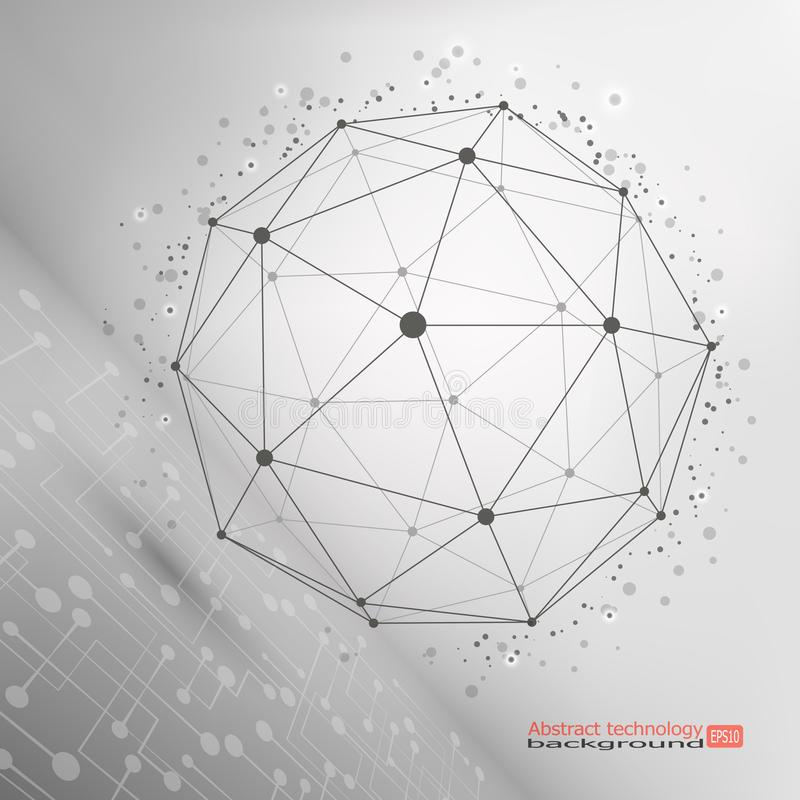 Wireframe滤网多角形元素 抽象范围 连接结构 复杂几何形状 现代技术概念 库存例证