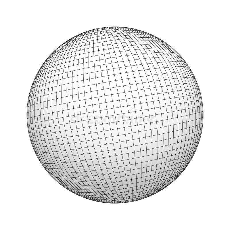 Wireframe球形或球,与在白色背景隔绝的网格线的几何形状 嘲笑设计 3d抽象例证 库存例证