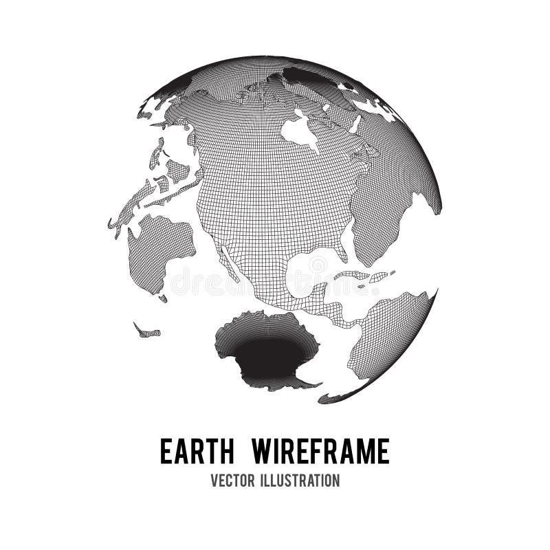 Wireframe行星地球地球 库存例证