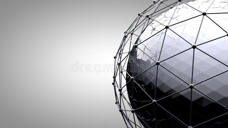 Wireframe连接的球形 在地球地球附近的连接线 社会网络,地球连接的概念 免版税库存照片