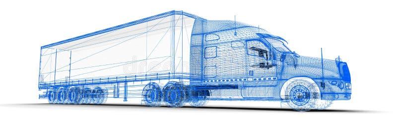 Wireframe åker lastbil vektor illustrationer